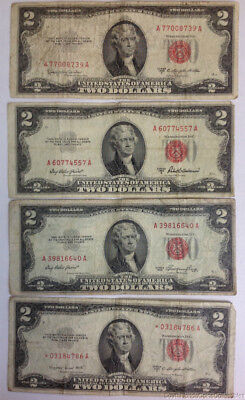 Set of 4 1953-A/B/C $2 US Legal Tender Small Size Red Seal Bills Notes Circ