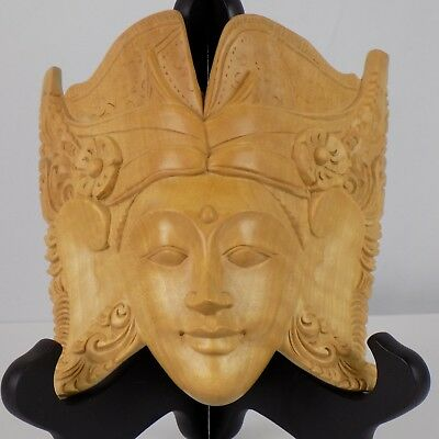 "Balinese? Wooden Mask approximate 6"" tall 6"" wide light wood beautifully grained"