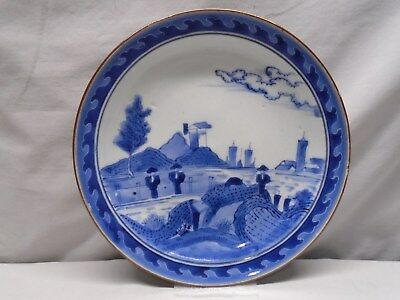Rare Chinese or Japanese Deshima Island Scheveningen Blue and White Plate