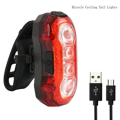 4 LED USB Rechargeable Bicycle Cycling Tail Lights Rear Red Warning Light Bike