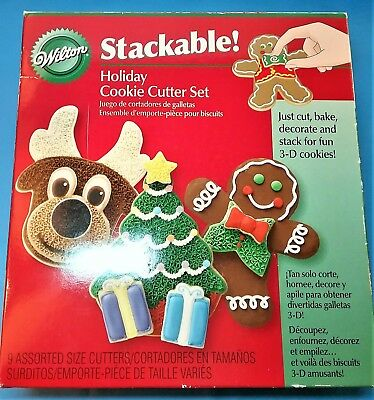Wilton Holiday Cookie Cutter Set Reindeer Tree Gingerbread Man Stackable IOB