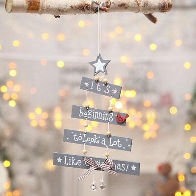 Xmas Tree Pendant Hanging Wooden Christmas Decoration Home Party Decor Ornaments