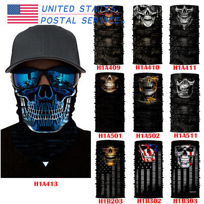 Scary Skull Face Mask Tube Scarf Headwear Motorcycles Warm Wind Protector USPS