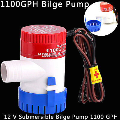 1100GPH 12V Bilge Pump 3AMP 12N Marine Water Pump Submersible For Yacht Boat