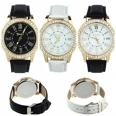 Fashion Women Leather Casual Watch Luxury Analog Quartz Crystal Wristwatch NEW