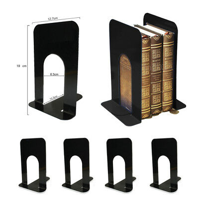 4pcs Black Heavy Duty Metal Bookends Book Ends Home School Office Stationery