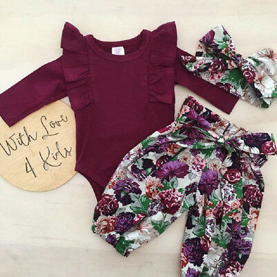 AU Stock Newborn Baby Girls Wine Tops Romper Floral Pants Outfits Set Clothes