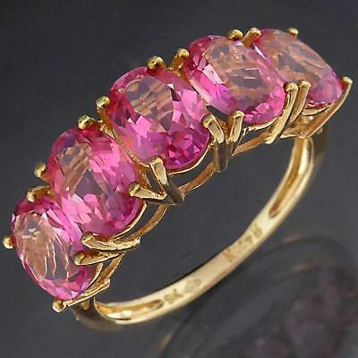 In-Line Solid 9k Yellow GOLD 5 OVAL PINK SAPPHIRE HIGH BRIDGE RING Sz P