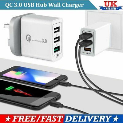 30W 3Port Fast Charging Quick Charge QC 3.0 USB Hub Wall Charger Adapter UK Plug