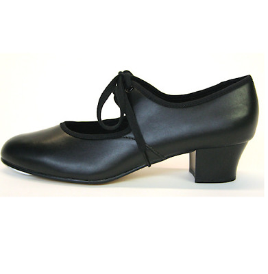 Black PU or leather cuban heel tap shoes - heel and toe taps -  all sizes