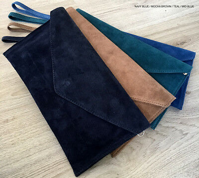 Navy Blue Wedding Clutch Bag Evening Bag Over Sized Envelope Suede Made in Italy