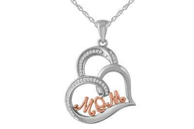 1/10 Ctw Diamond Sterling Silver with 14K Rose Gold Plated MOM Heart Pendant