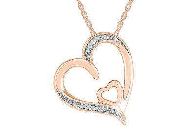 c3003e7bd2c03 STERLING AND 10K Rose Gold Diamond Accent Heart Pendant Necklace ...