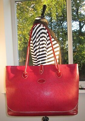 Huge! Authentic Mulberry Red Scotchgrain & Leather Tote Shoulder Hand Bag