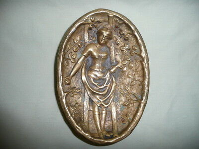 Antique Heavy&Embossed Cast Solid Bronze/Brass Erotic Young Lady Pin Dish,L15cm.