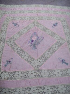 Antique / Vintage Victorian pink satin & Lace Tablecloth or Bedspread Embroidery