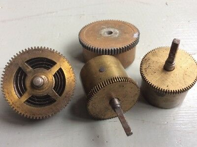 4x Vintage Mixed Brass Clock Parts COGS Spares Repairs Art Craft French Barrels