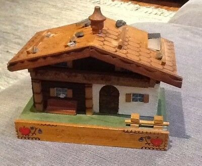 Vintage Black Forest Wooden Cottage Jewellery /Music Box