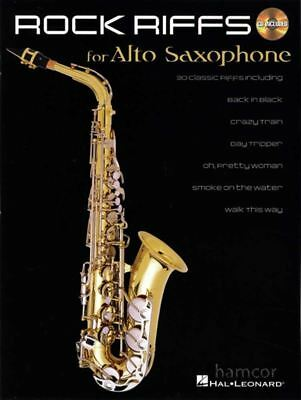Rock Riffs for Alto Sax Saxophone Learn How to Play Sheet Music Book with CD