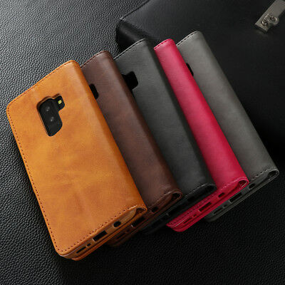 For Samsung Galaxy S9 A8 2018 Magnetic Flip Leather Card Holder Stand Case Cover