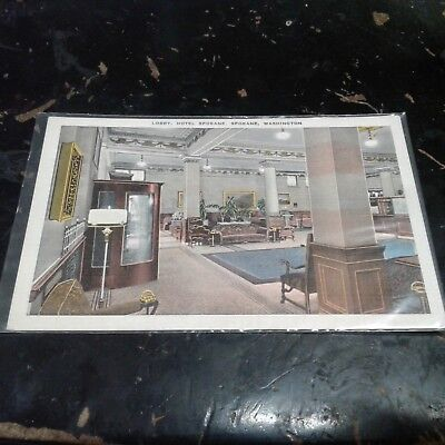 Vintage Postcard Lobby Hotel Spokane Washington