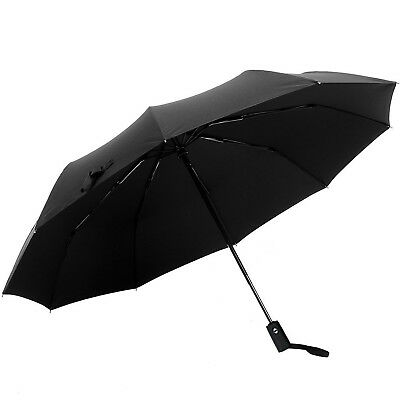 Auto Open Close Folding Rain Travel Compact Umbrella Windproof Lightweight Black