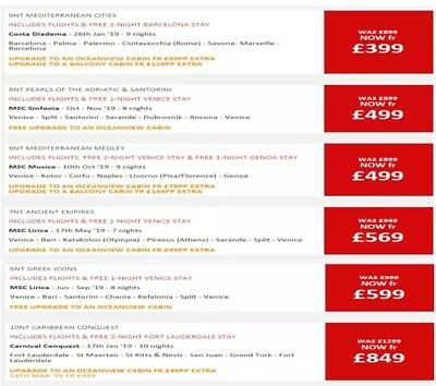 Cheap Holiday Cruise Deals starting from £329 + flights included