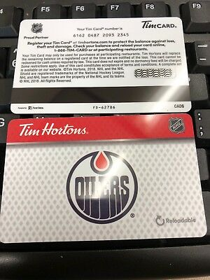 Just Released Tim Hortons 2018/19 Gift Card Fd 62786 No Value Edmonton Oilers