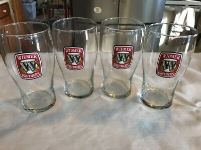 Set Of Four Widmer Brothers Brewing 16 Ounce Beer Tulip Glasses New
