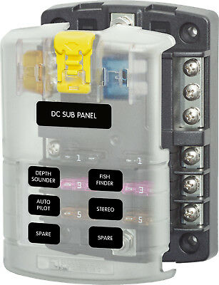 Blue Sea Systems 5025 ST Blade Fuse Block - 6 Circuits with Negative Bus and...