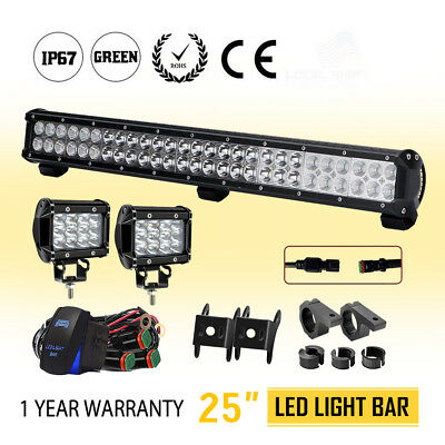 25inch 2-Row Cree Flood Spot LED Light Bar+2x4'' Pods Offroad For Truck UTE SUV