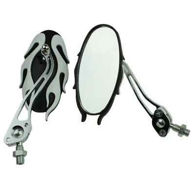 motorcycle mirrors 10MM bike/motorbike rear view side pair white Y7C9