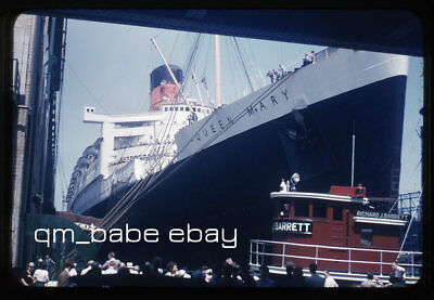 Vintage Original Photo Slide Cunard Rms Queen Mary & Tug Docked New York 1953