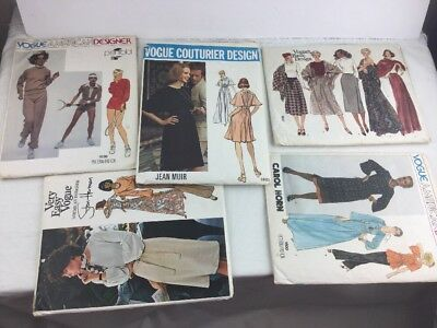 Lot of 5 Vintage Vogue Uncut Patterns Women's Sizes 10 12 14 18