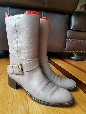 Chloe Mid Calf Boots Light Brown Leather With Buckle Strap Pull On Size 38.5