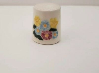 Vintage Glazed Painted Flower Thimble