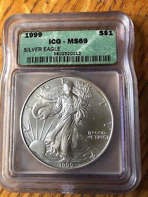 1999 American Silver Eagle ASE S$1 ICG MS69 MS-69