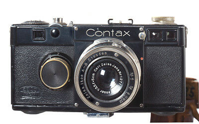 Contax I with 50mm 3.5 Carl Zeiss Jena Tessar Black body with Nickel lens ex+