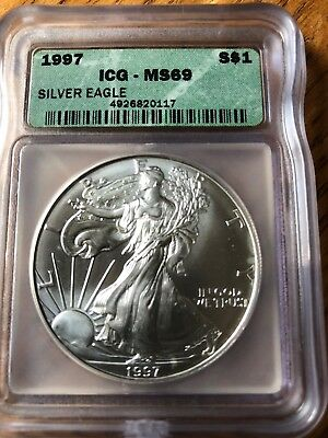 1997 American Silver Eagle ASE S$1 ICG MS69 MS-69