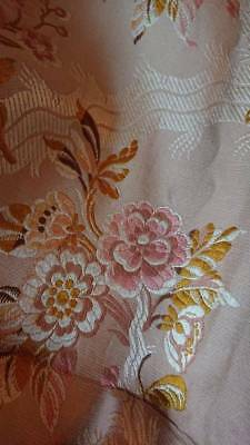 DIVINE Lge ANTIQUE FRENCH CHATEAU SILK BROCADE PANEL SOFT MUTED SHADES c1880