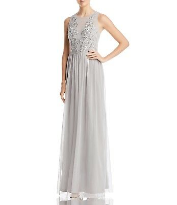 $379 Adrianna Papell Women'S Gray Tulle Embellished Sequined Gown Dress Size 14