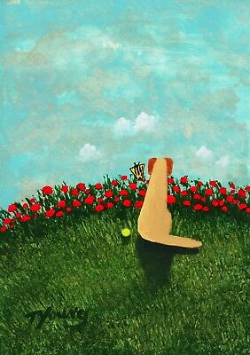 Yellow Lab Labrador Retriever Poppy Folk Art PRINT Todd Young BUTTERFLY