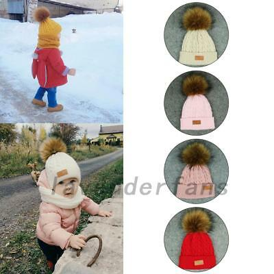 Toddler Kids Baby Hat Winter Raccoon Fur Pom Knit Beanie Ski Cap Bobble Hat AU
