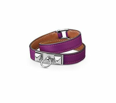 c30a48b34ad Hermes Bracelet Cuir leather violet Rivale Double Tour T. M medium like new