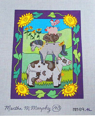 Martha M Murphy Hand Painted Needlepoint Canvas Whimsical Farm Animals in a Pile