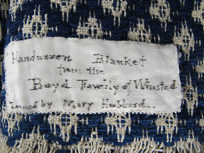 Antique Mid 19th C American Blue White Woven Jacquard Coverlet Signed Boyd 3 yqz