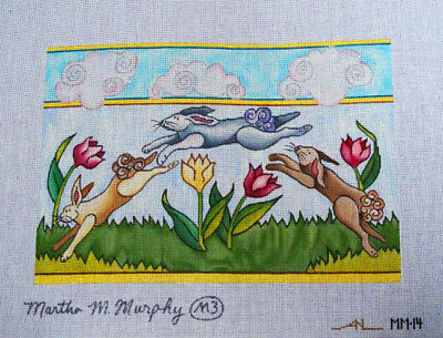 Martha M Murphy Hand Painted Needlepoint Canvas Bunnies & Tulips