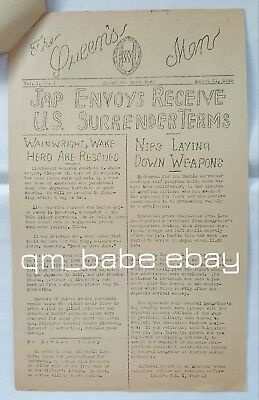 Rare 1945 Ww2 Troopship Newspaper Rms Queen Mary Cunard White Star (Ocean Times)
