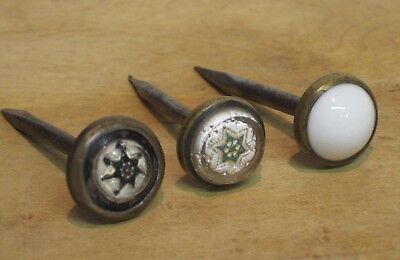3 Antique Victorian Period Brass Glass White Porcelain Picture Hanging Nails