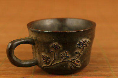 Antique chinese old Bronze Hand Casting flower Statue collectable tea cup deco